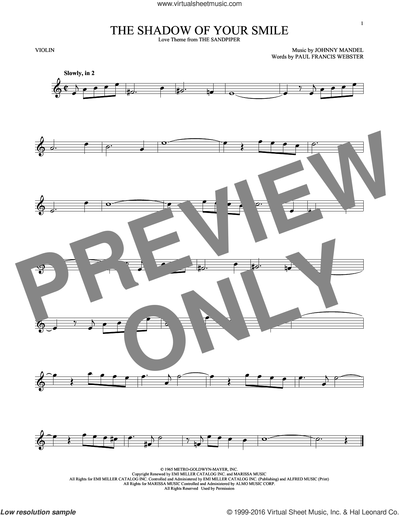 The Shadow Of Your Smile sheet music for violin solo by Paul Francis Webster and Johnny Mandel, intermediate skill level