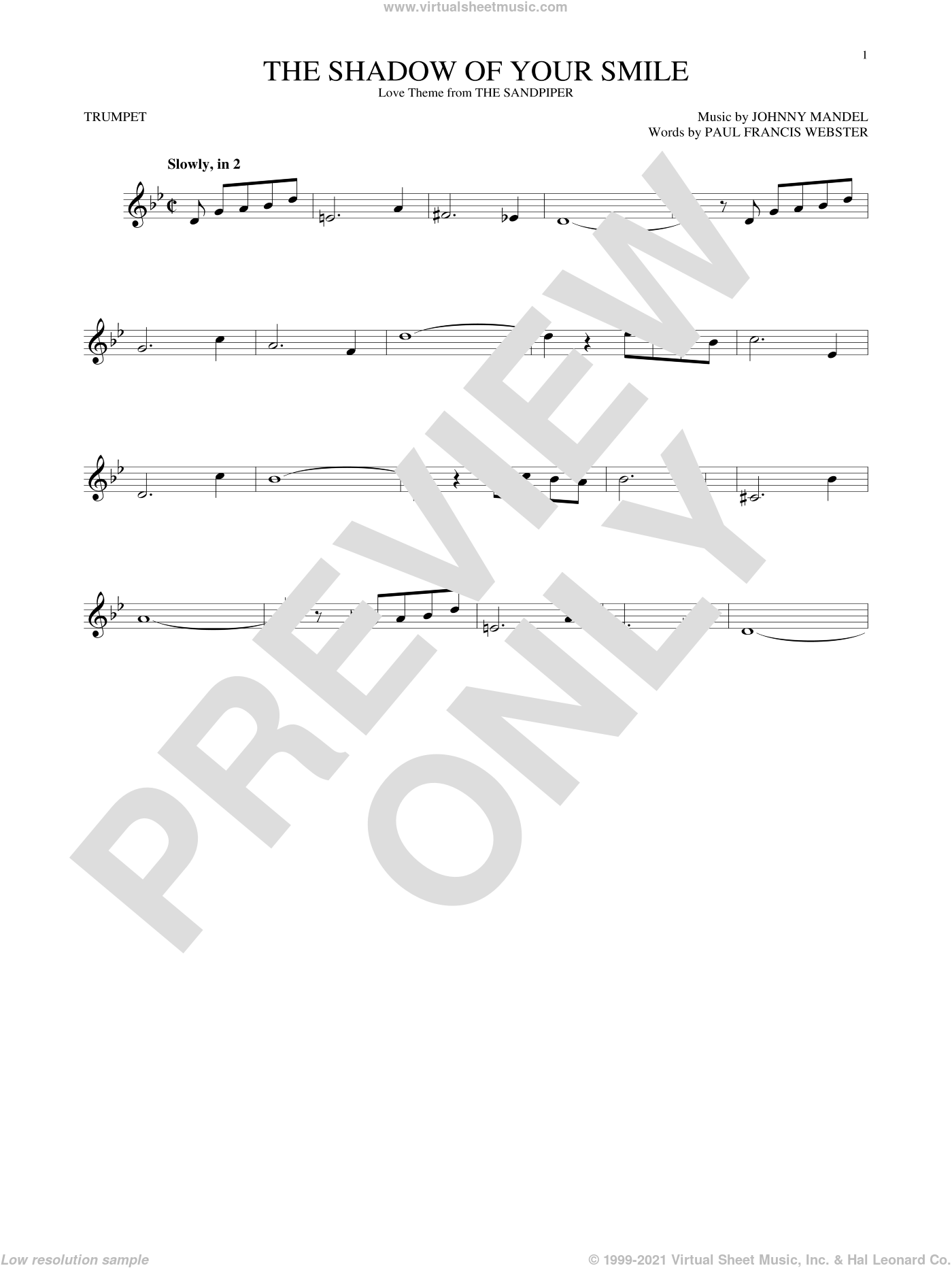 The Shadow Of Your Smile sheet music for trumpet solo by Paul Francis Webster and Johnny Mandel, intermediate trumpet. Score Image Preview.