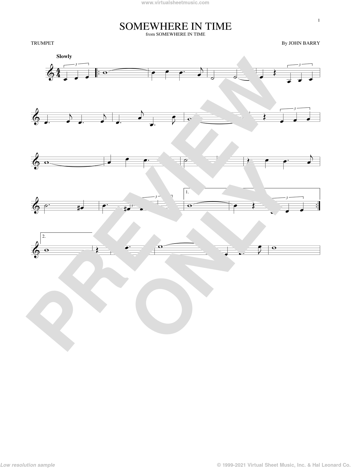 Somewhere In Time sheet music for trumpet solo by John Barry and B.A. Robertson, intermediate skill level