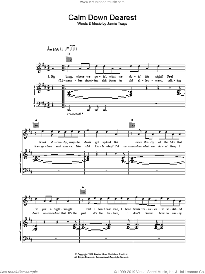 Calm Down Dearest sheet music for voice, piano or guitar by Jamie T, intermediate voice, piano or guitar. Score Image Preview.