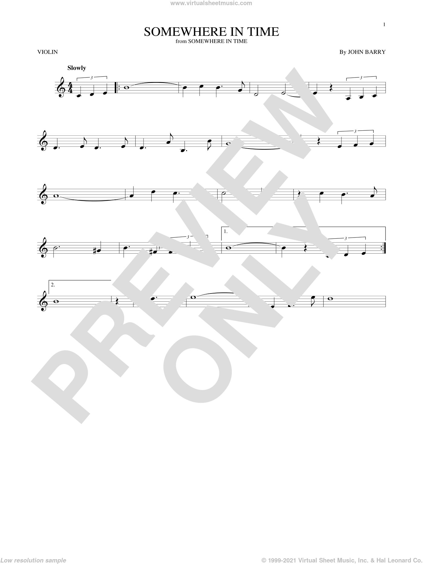 Somewhere In Time sheet music for violin solo by John Barry and B.A. Robertson, intermediate