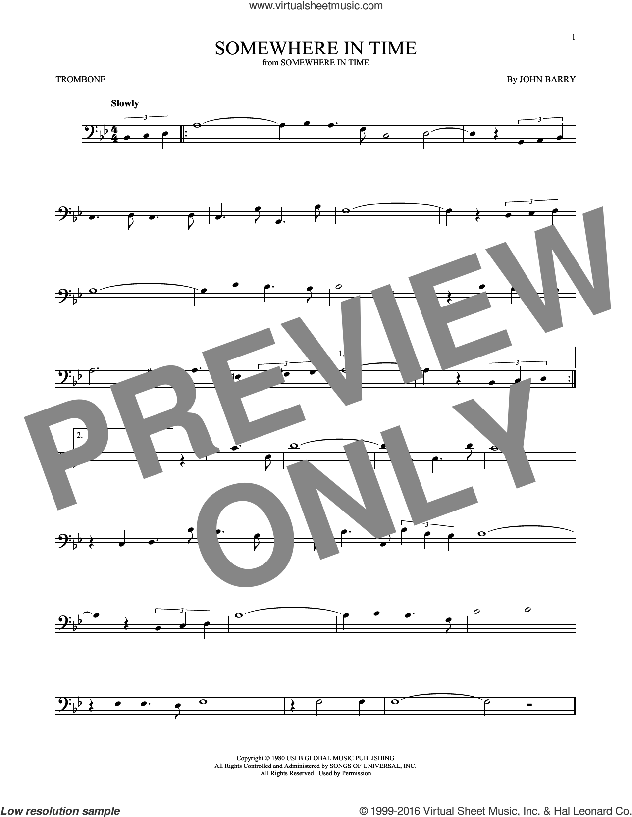 Somewhere In Time sheet music for trombone solo by John Barry and B.A. Robertson, intermediate skill level