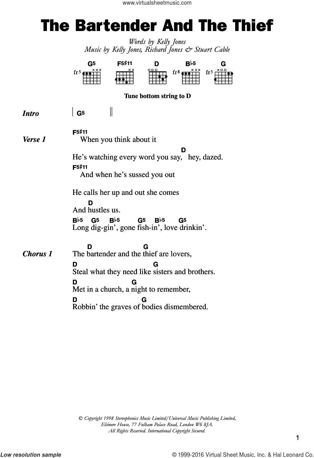 The Bartender And The Thief sheet music for guitar (chords) by Stereophonics, Kelly Jones, Richard Jones and Stuart Cable, intermediate