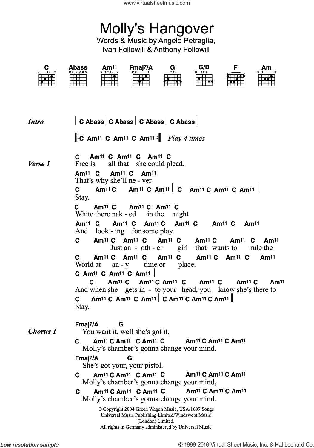 Molly's Hangover sheet music for guitar (chords) by Kings Of Leon, Angelo Petraglia, Anthony Followill and Ivan Followill, intermediate skill level