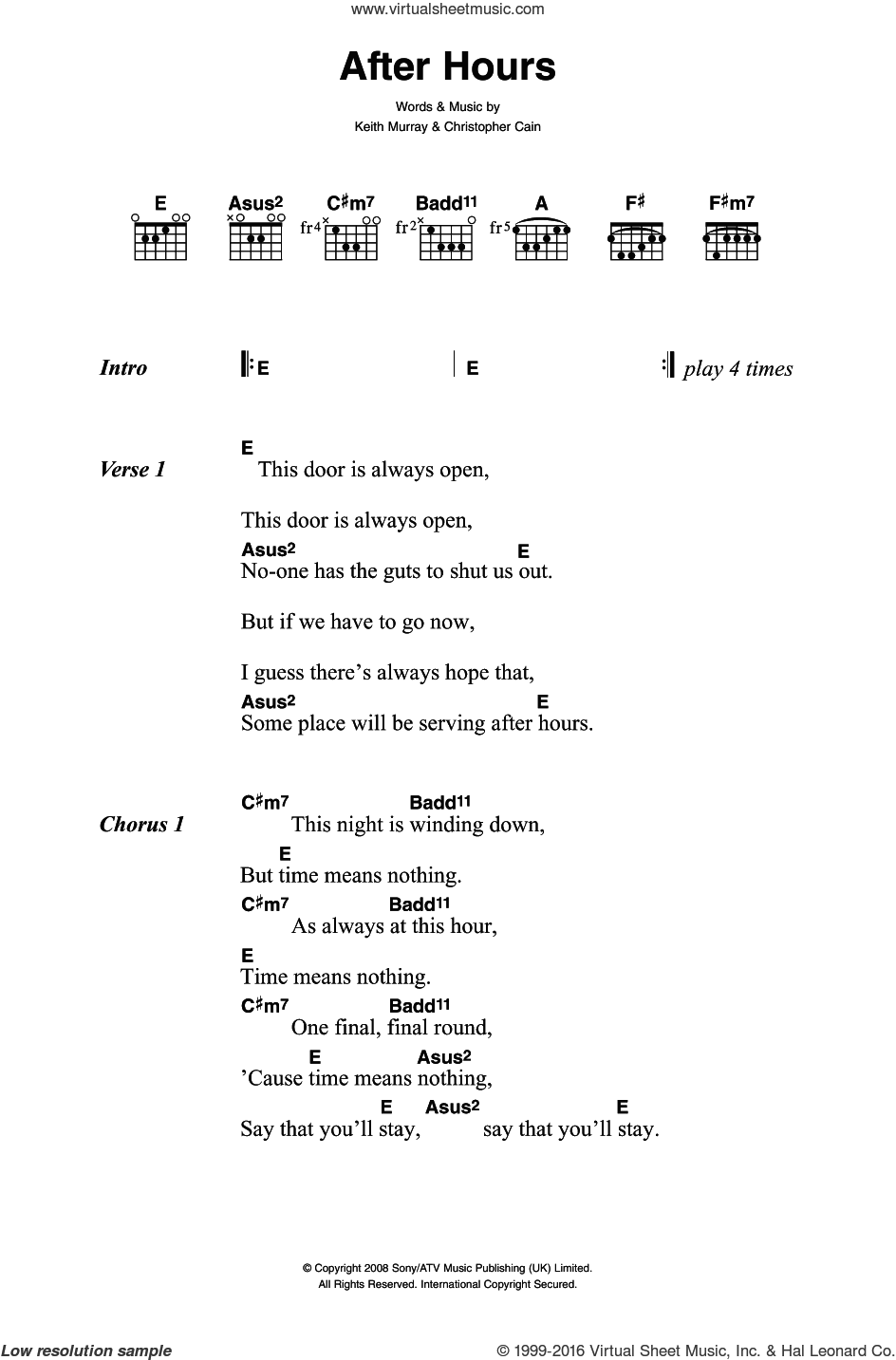 After Hours sheet music for guitar (chords) by Keith Murray. Score Image Preview.