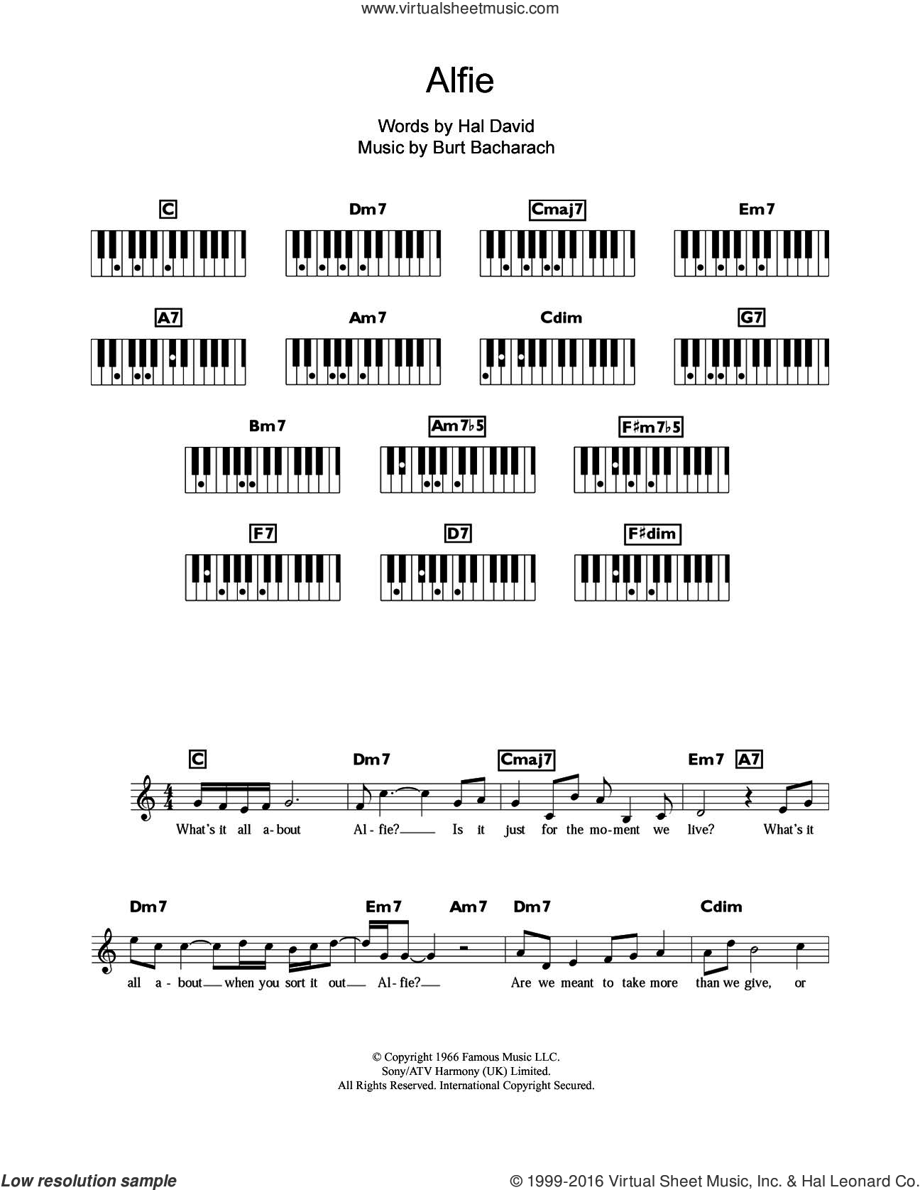Alfie sheet music for piano solo (chords, lyrics, melody) by Burt Bacharach and Hal David, intermediate piano (chords, lyrics, melody)