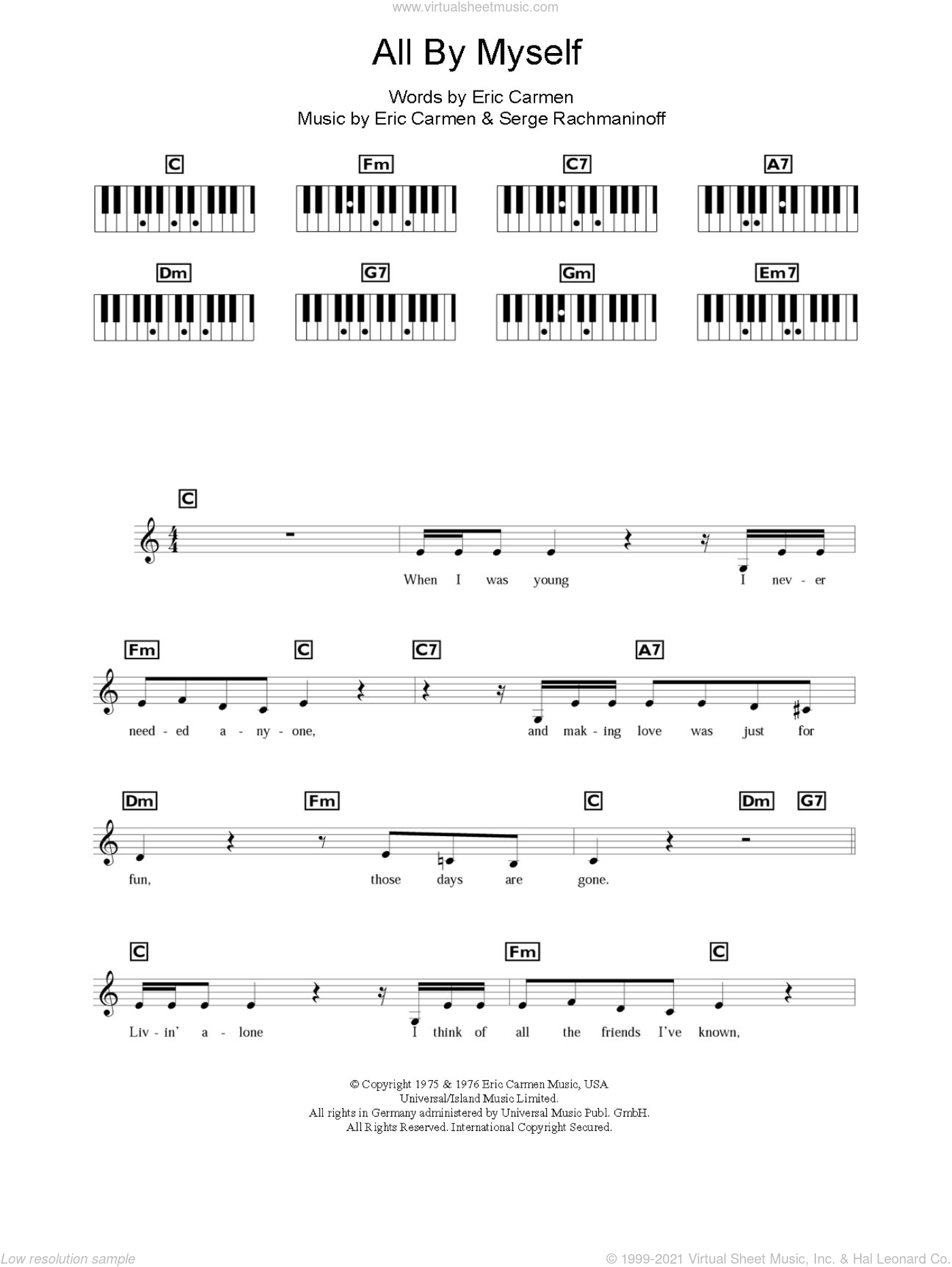 All By Myself sheet music for piano solo (chords, lyrics, melody) by Celine Dion, Eric Carmen and Serjeij Rachmaninoff, intermediate piano (chords, lyrics, melody). Score Image Preview.