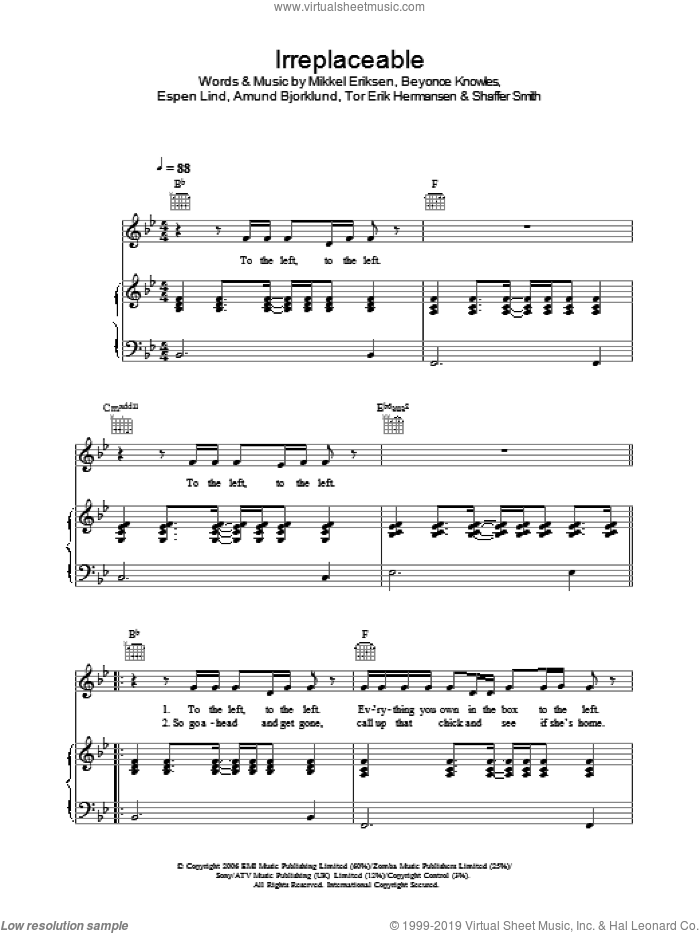 Irreplaceable sheet music for voice, piano or guitar by Beyonce, Beyonce Knowles, Mikkel Eriksen, Shaffer Smith and Tor Erik Hermansen. Score Image Preview.