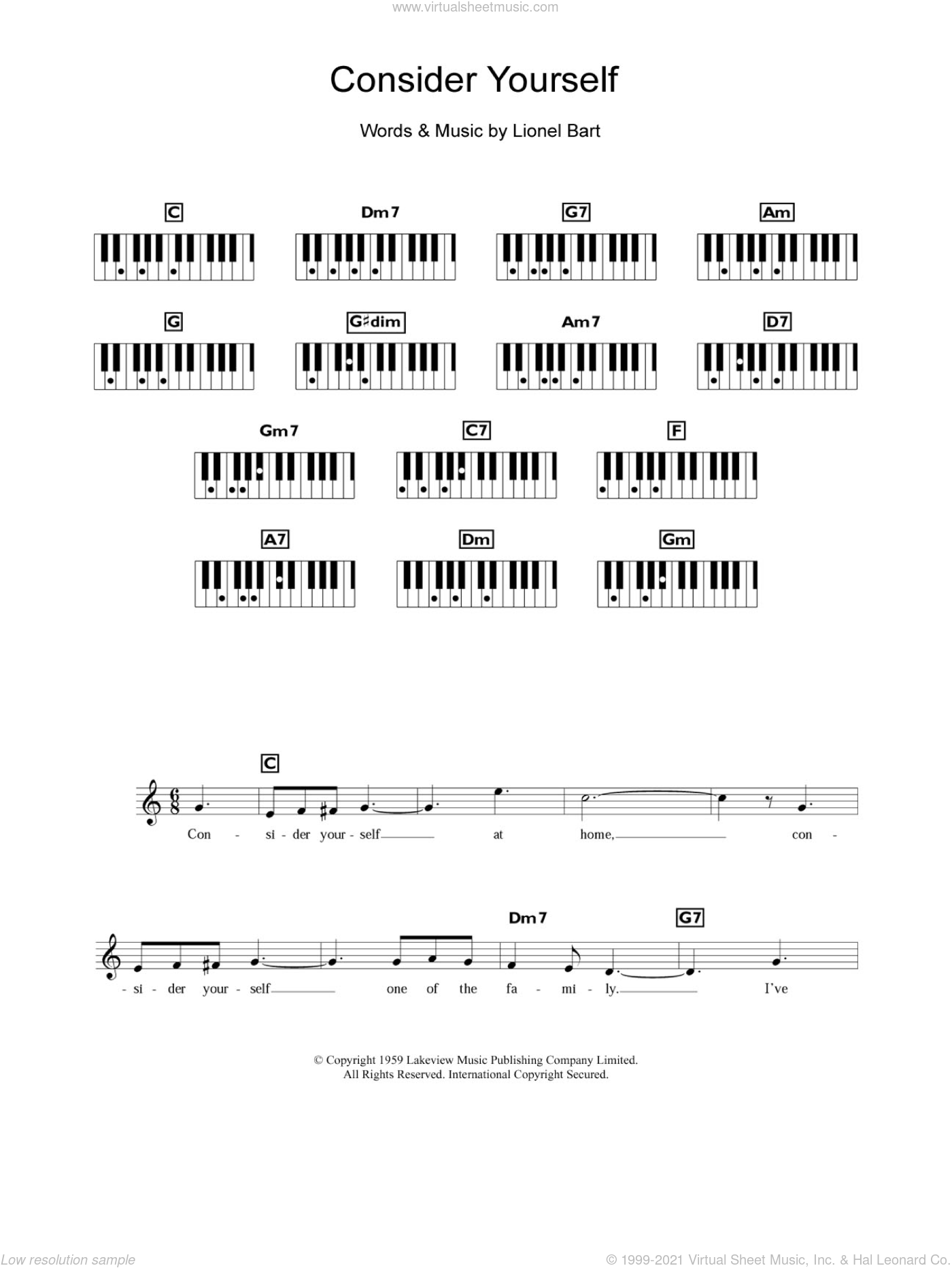 Consider Yourself (from Oliver!) sheet music for piano solo (chords, lyrics, melody) by Lionel Bart. Score Image Preview.