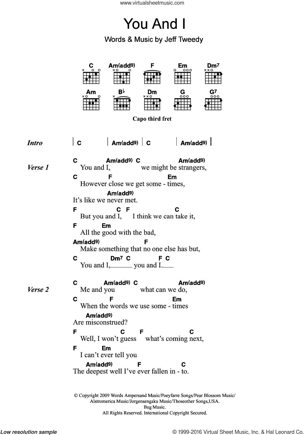 You And I (featuring Feist) sheet music for guitar (chords) by Jeff Tweedy, Leslie Feist and Wilco. Score Image Preview.