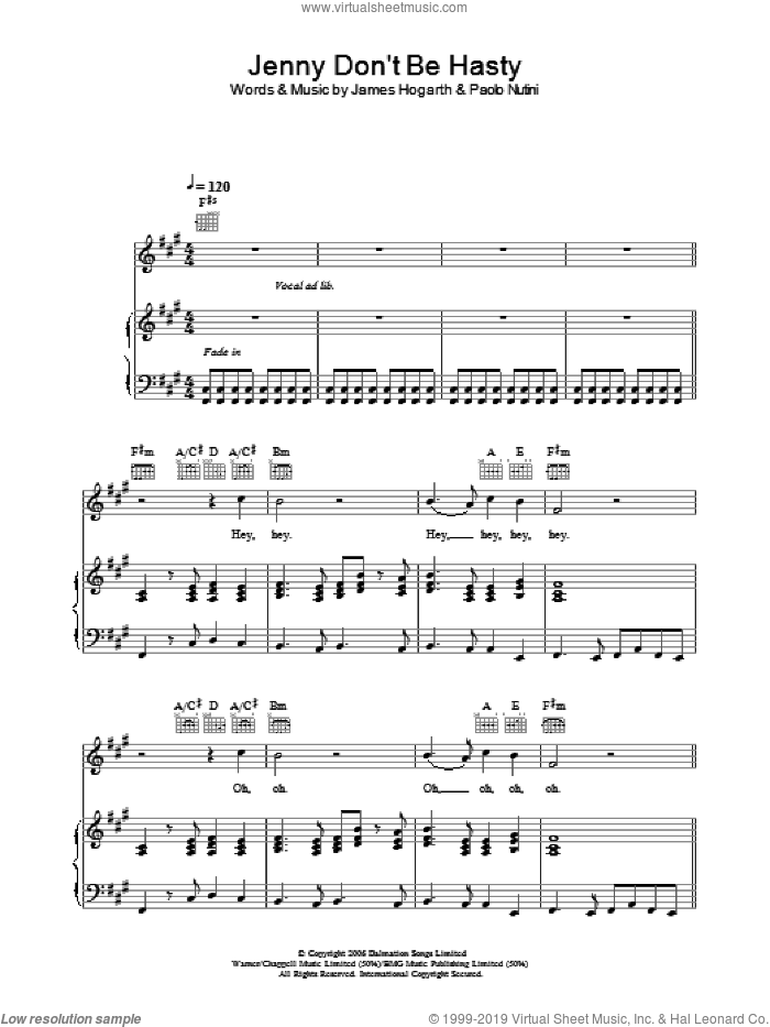 Jenny Don't Be Hasty sheet music for voice, piano or guitar by Paolo Nutini and James Hogarth, intermediate skill level