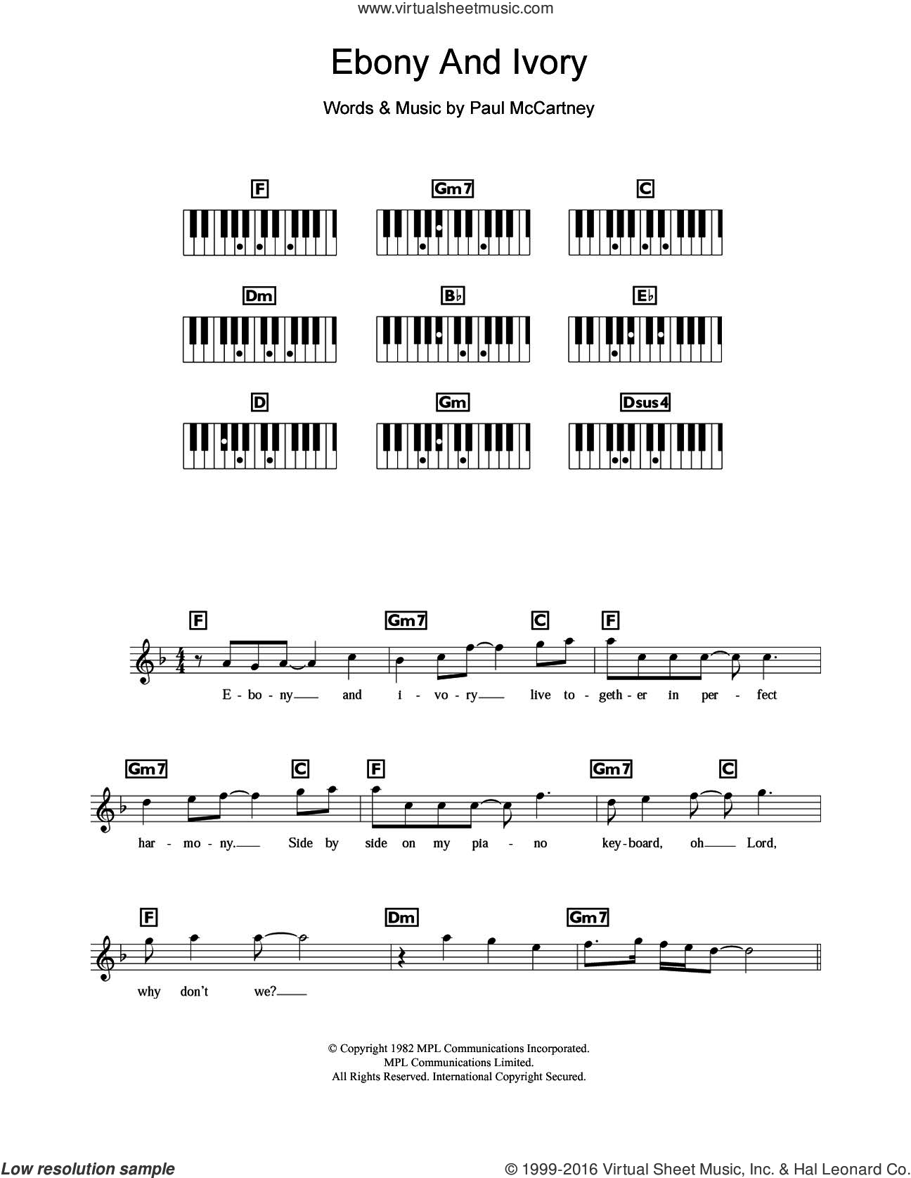 Ebony And Ivory sheet music for piano solo (chords, lyrics, melody) by Paul McCartney and Stevie Wonder. Score Image Preview.