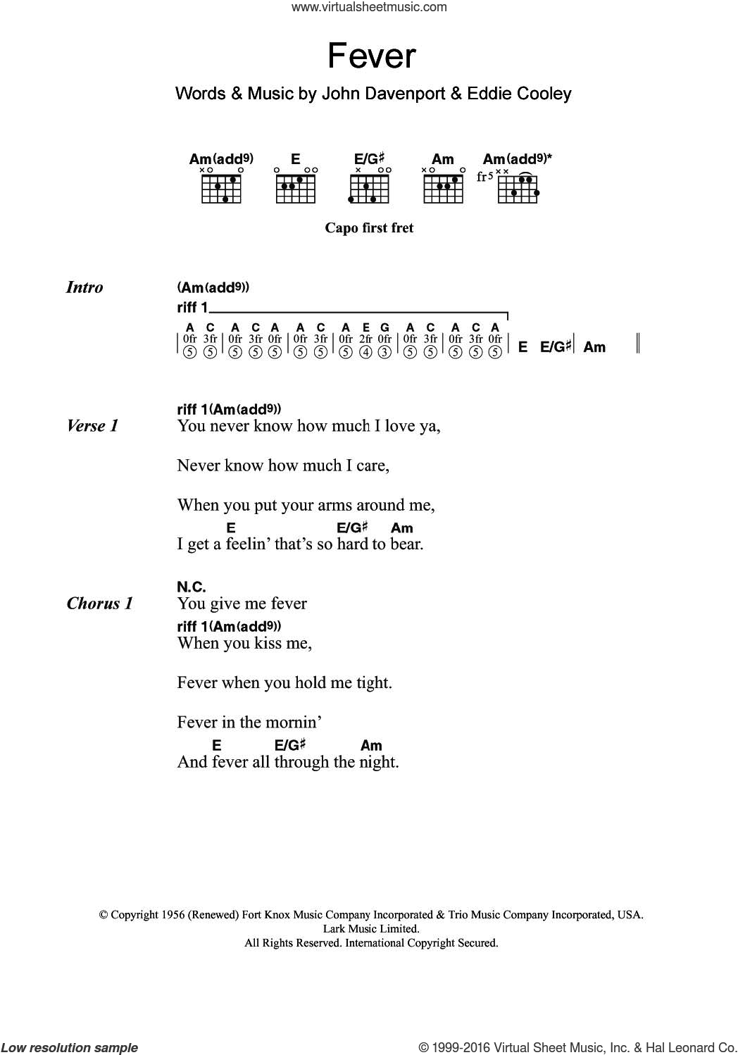 Fever sheet music for guitar (chords) by Little Willie John, Eva Cassidy, Peggy Lee and Eddie Cooley. Score Image Preview.