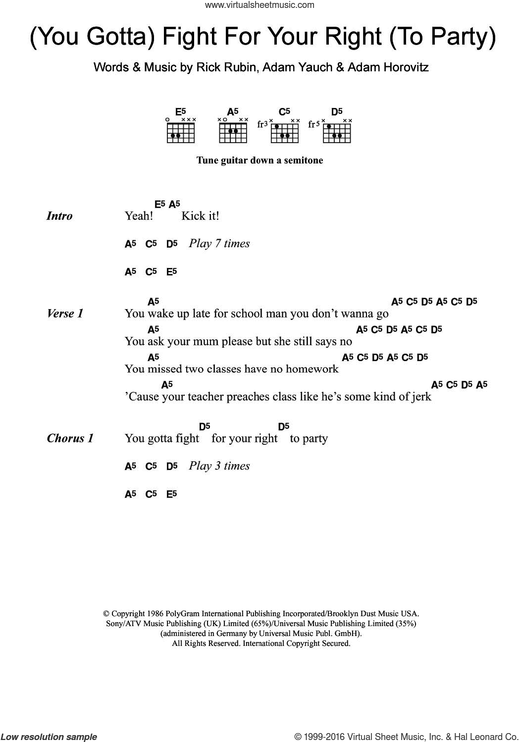 (You Gotta) Fight For Your Right (To Party) sheet music for guitar (chords) by Beastie Boys, Adam Horovitz, Adam Yauch and Rick Rubin, intermediate skill level