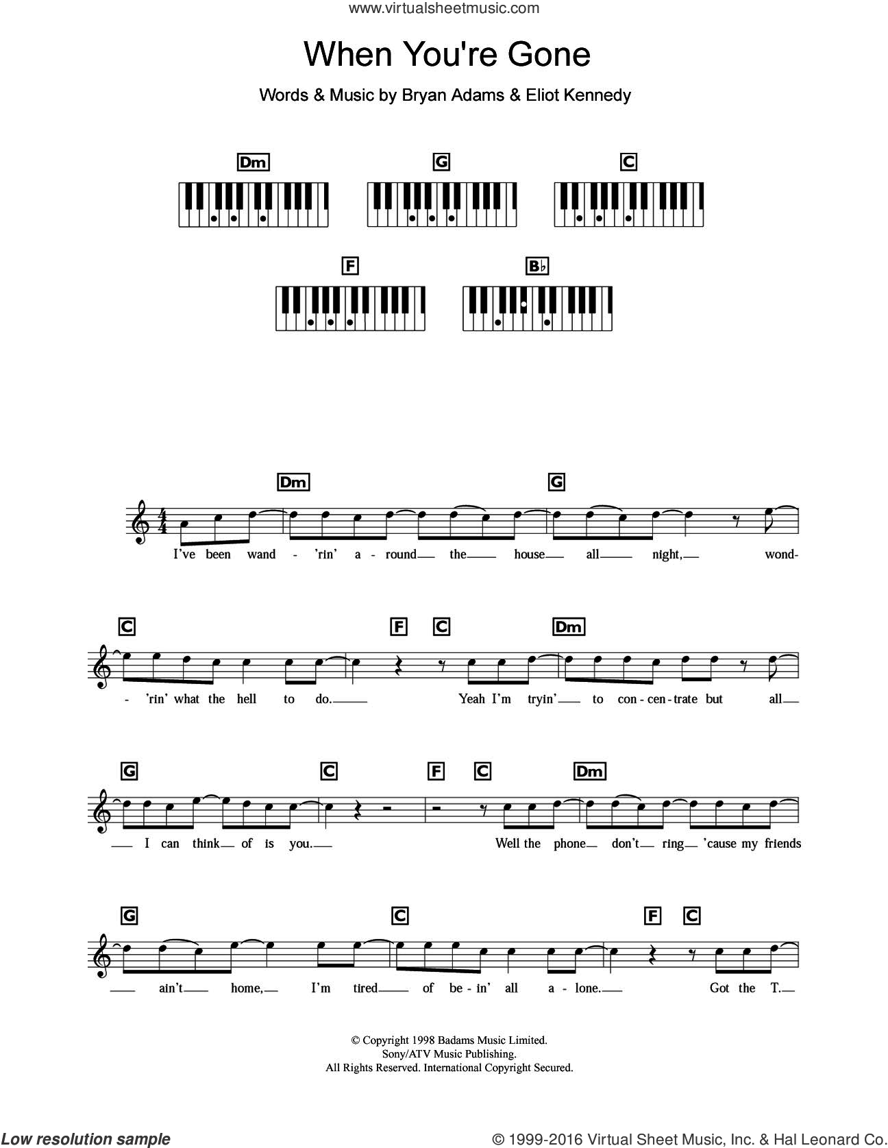 When You're Gone sheet music for piano solo (chords, lyrics, melody) by Bryan Adams, Chisholm Melanie and Eliot Kennedy, intermediate piano (chords, lyrics, melody)