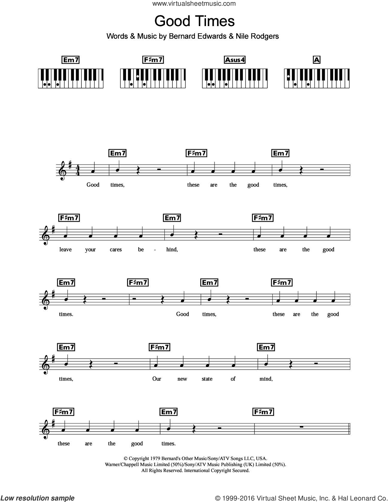 Good Times sheet music for piano solo (chords, lyrics, melody) by Chic, Bernard Edwards and Nile Rodgers. Score Image Preview.