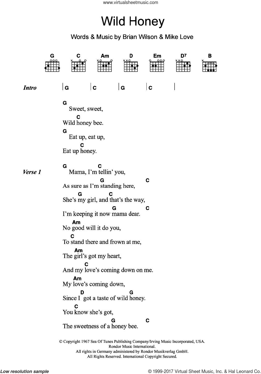 Wild Honey sheet music for guitar (chords) by The Beach Boys, Brian Wilson and Mike Love, intermediate skill level
