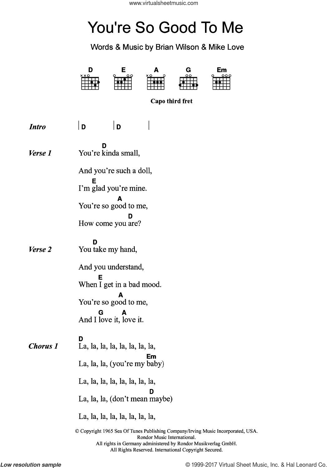 You're So Good To Me sheet music for guitar (chords) by The Beach Boys, Brian Wilson and Mike Love, intermediate skill level