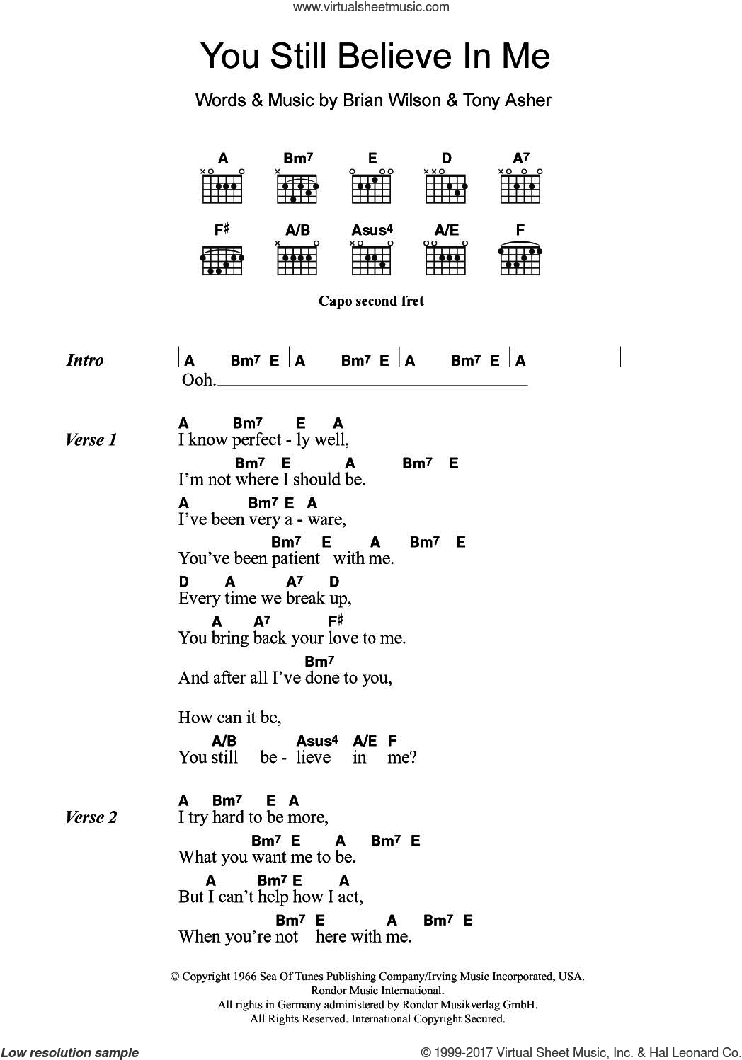 You Still Believe In Me sheet music for guitar (chords) by The Beach Boys, Brian Wilson and Tony Asher, intermediate skill level