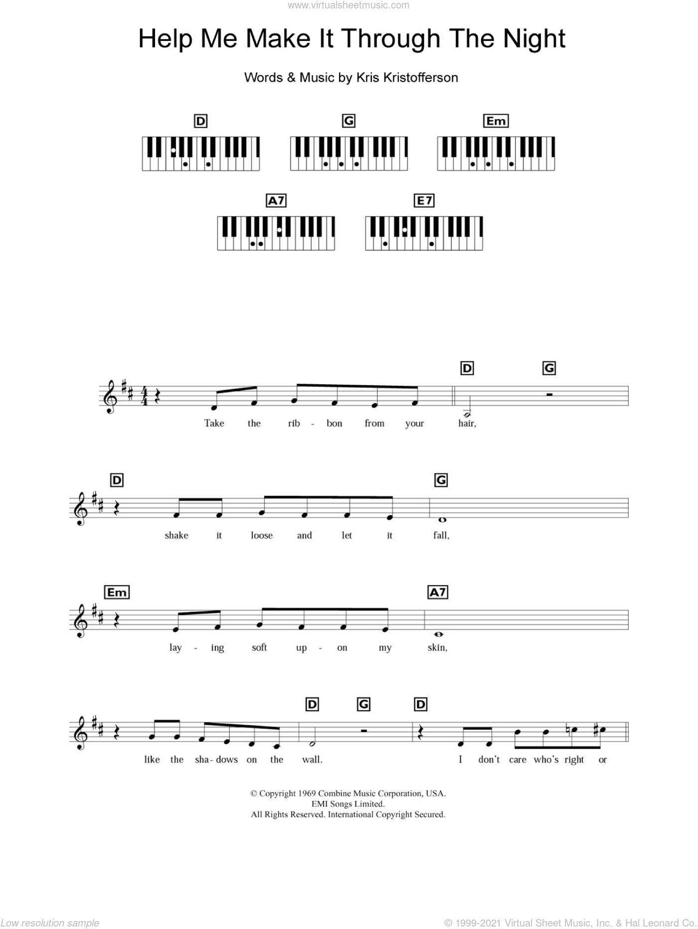 Help Me Make It Through The Night sheet music for piano solo (chords, lyrics, melody) by Kris Kristofferson, intermediate piano (chords, lyrics, melody)