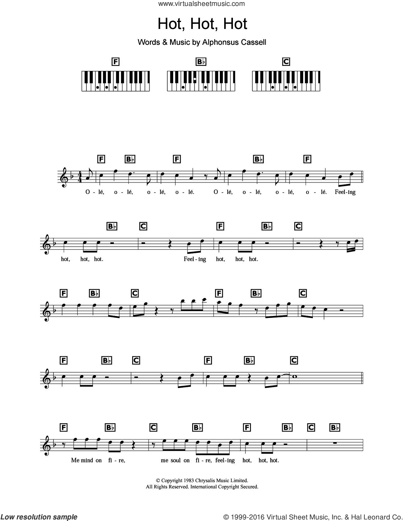 Hot Hot Hot sheet music for piano solo (chords, lyrics, melody) by Arrow and Alphonsus Cassell, intermediate piano (chords, lyrics, melody). Score Image Preview.