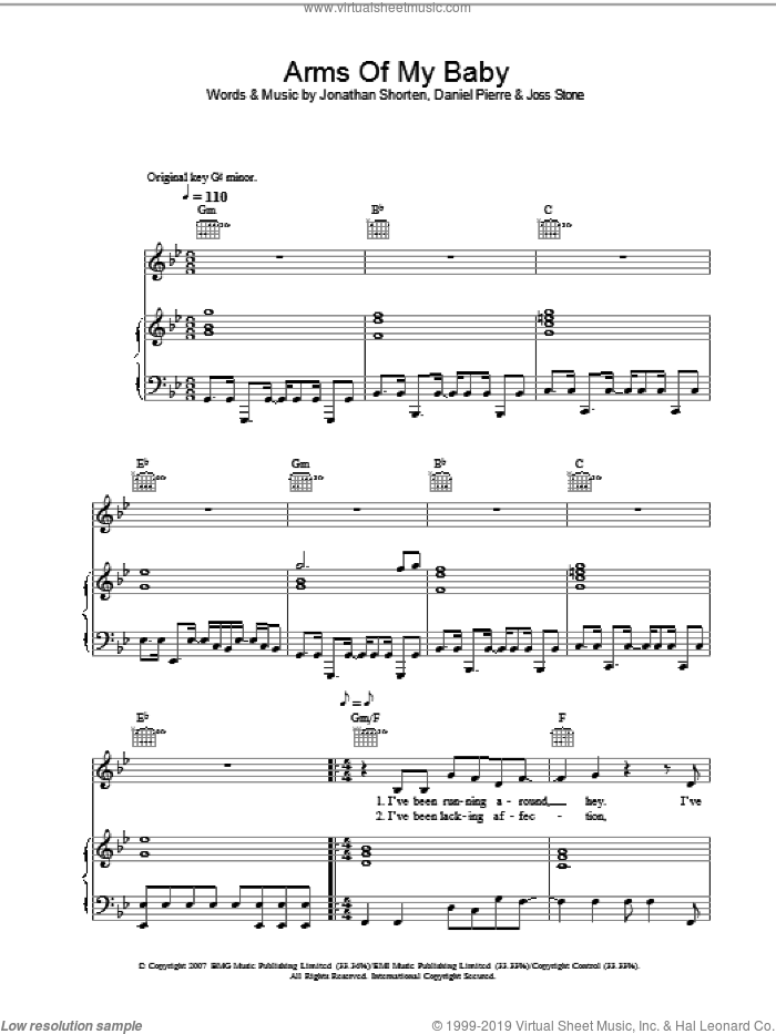 Arms Of My Baby sheet music for voice, piano or guitar by Joss Stone, Daniel Pierre and Jonathan Shorten, intermediate skill level
