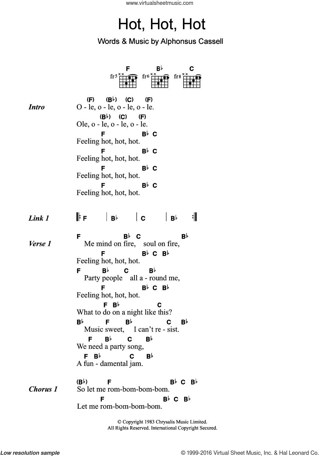 Hot Hot Hot sheet music for guitar (chords) by Arrow and Alphonsus Cassell, intermediate skill level