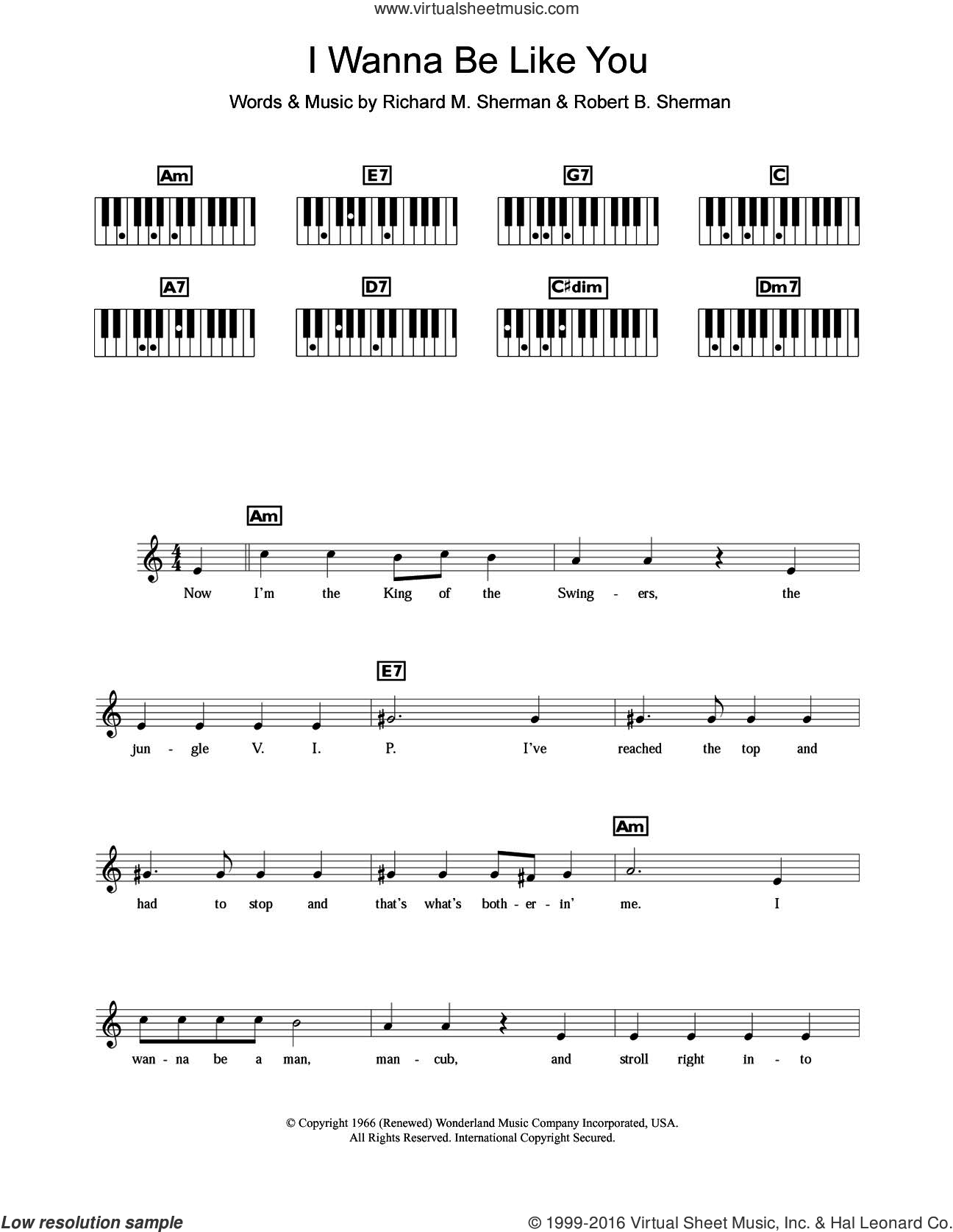 I Wanna Be Like You (from The Jungle Book) sheet music for piano solo (chords, lyrics, melody) by Louis Prima, Richard M. Sherman and Robert B. Sherman, intermediate piano (chords, lyrics, melody)