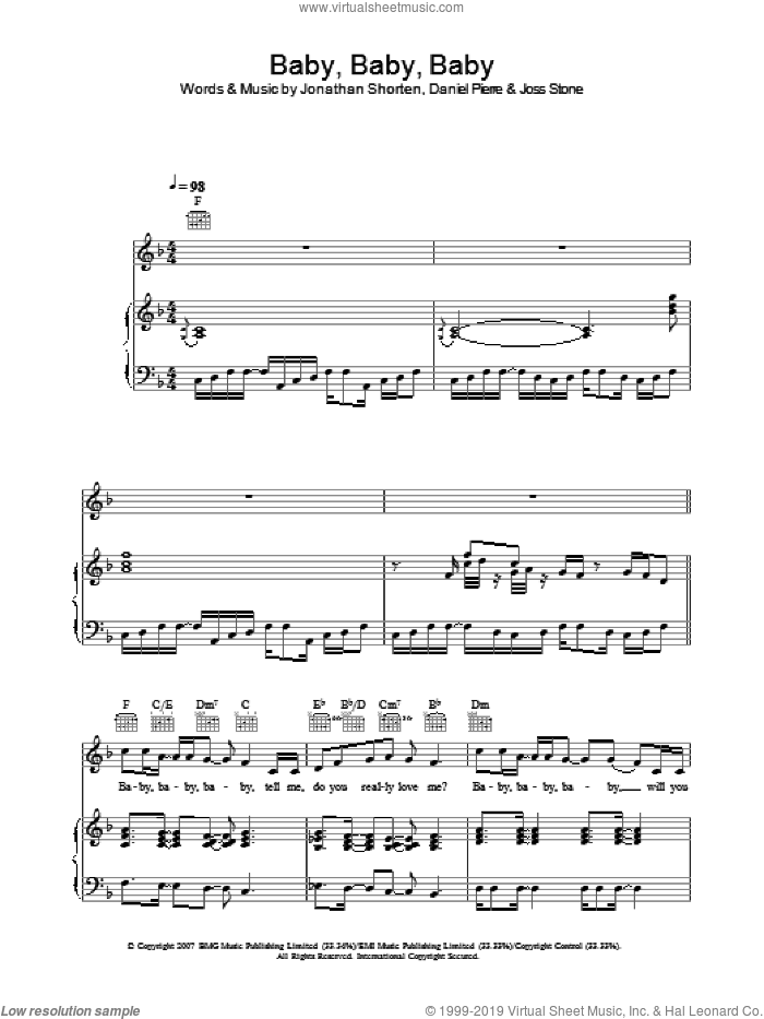 Baby Baby Baby sheet music for voice, piano or guitar by Joss Stone, Daniel Pierre and Jonathan Shorten, intermediate. Score Image Preview.