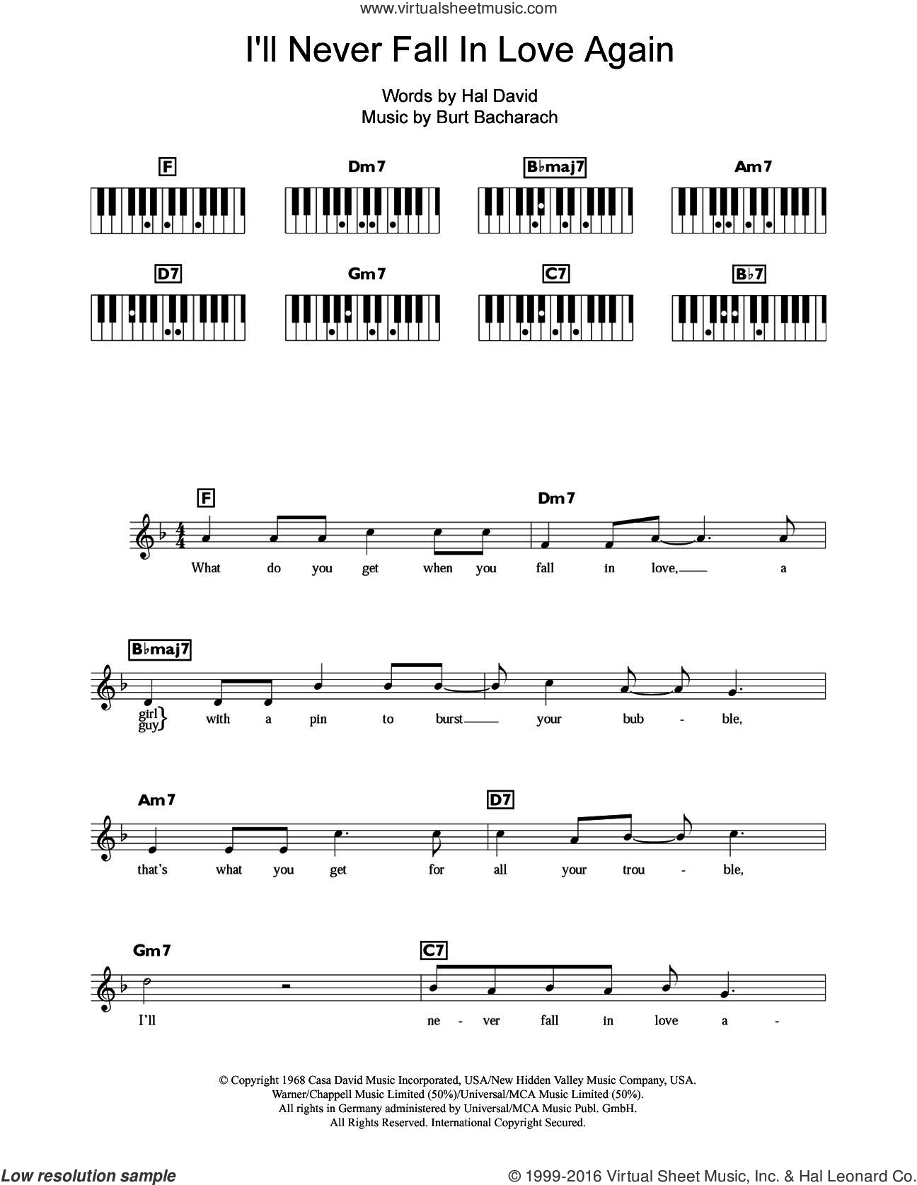 I'll Never Fall In Love Again sheet music for piano solo (chords, lyrics, melody) by Burt Bacharach and Hal David, intermediate piano (chords, lyrics, melody)