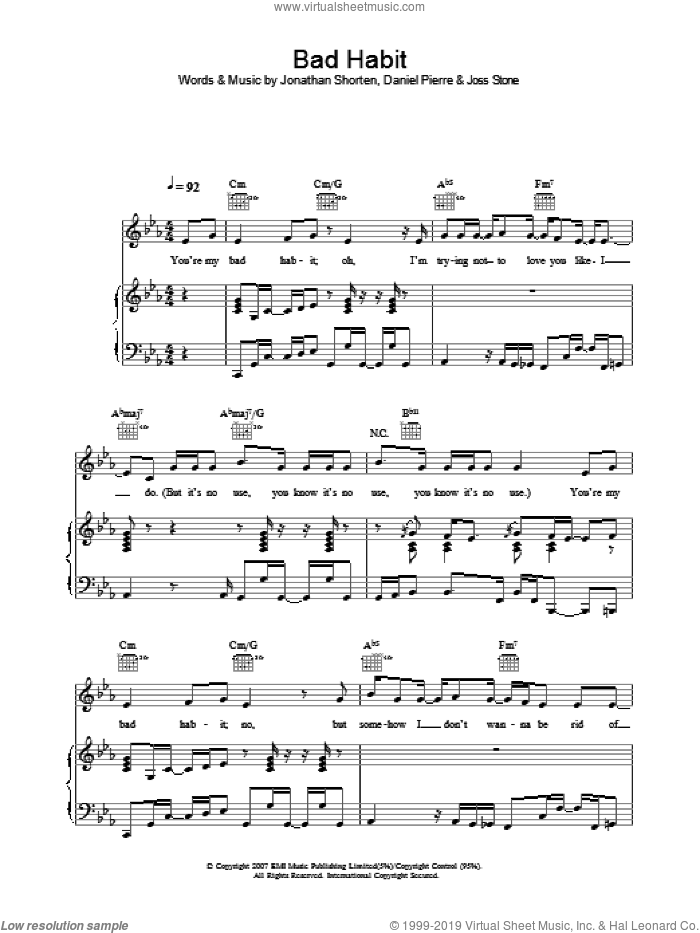 Bad Habit sheet music for voice, piano or guitar by Joss Stone, intermediate voice, piano or guitar. Score Image Preview.