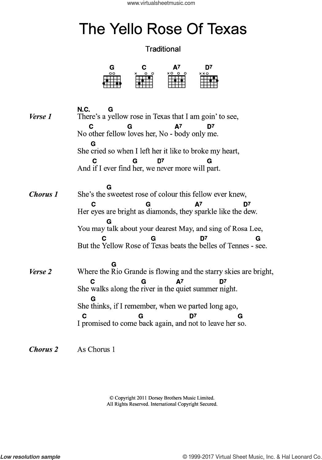 The Yellow Rose Of Texas sheet music for guitar (chords), intermediate skill level