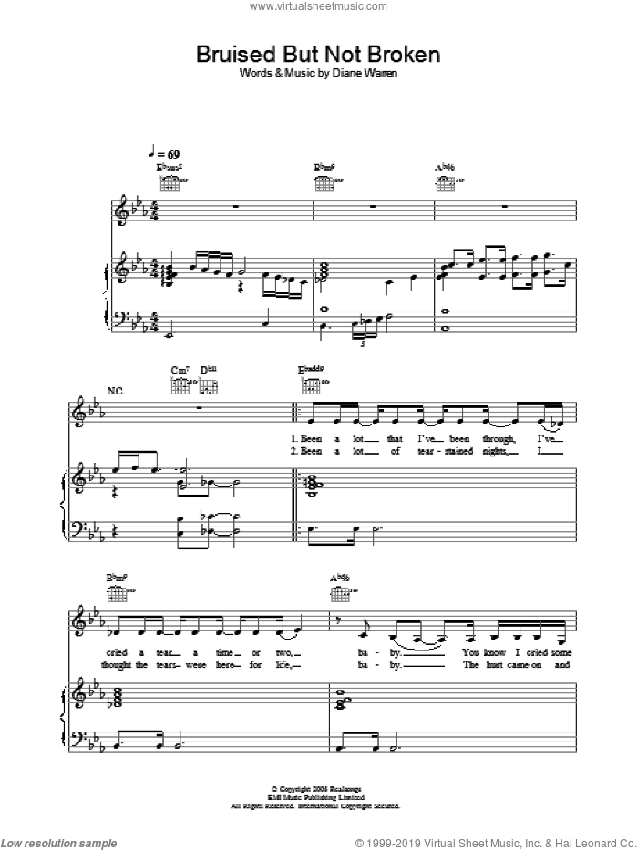Bruised But Not Broken sheet music for voice, piano or guitar by Joss Stone and Diane Warren. Score Image Preview.