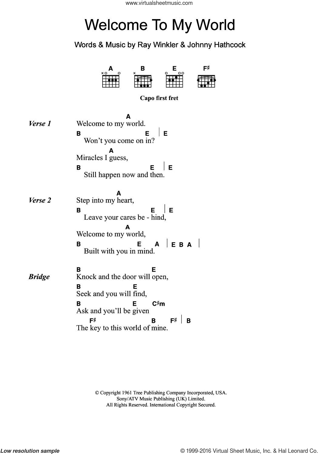 Welcome To My World sheet music for guitar (chords) by Jim Reeves, Johnny Hathcock and Ray Winkler, intermediate