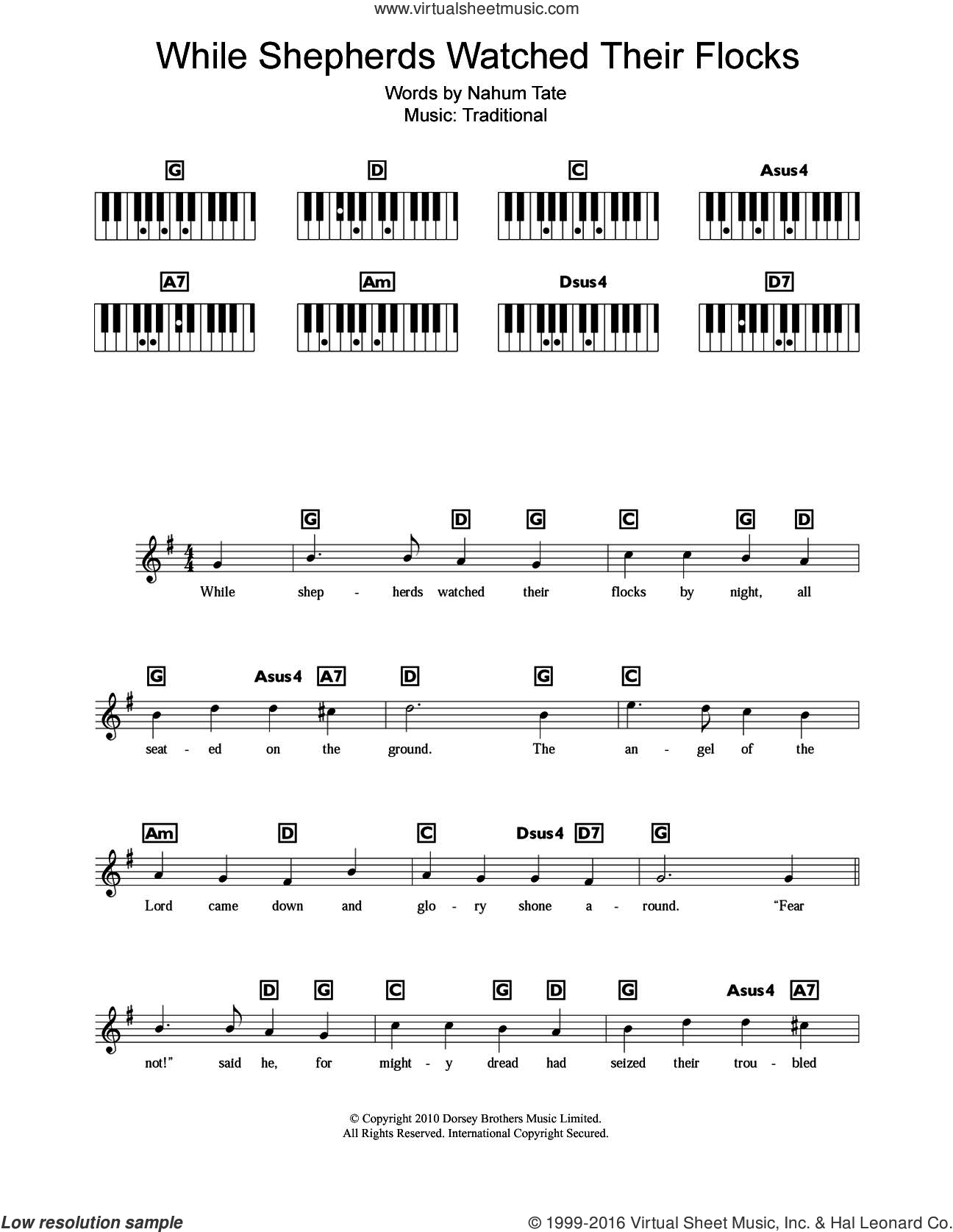 While Shepherds Watched Their Flocks sheet music for piano solo (chords, lyrics, melody)  and Nahum Tate, intermediate piano (chords, lyrics, melody)