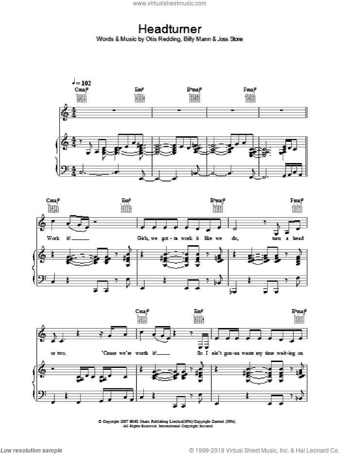 Headturner sheet music for voice, piano or guitar by Billy Mann, Joss Stone and Otis Redding. Score Image Preview.