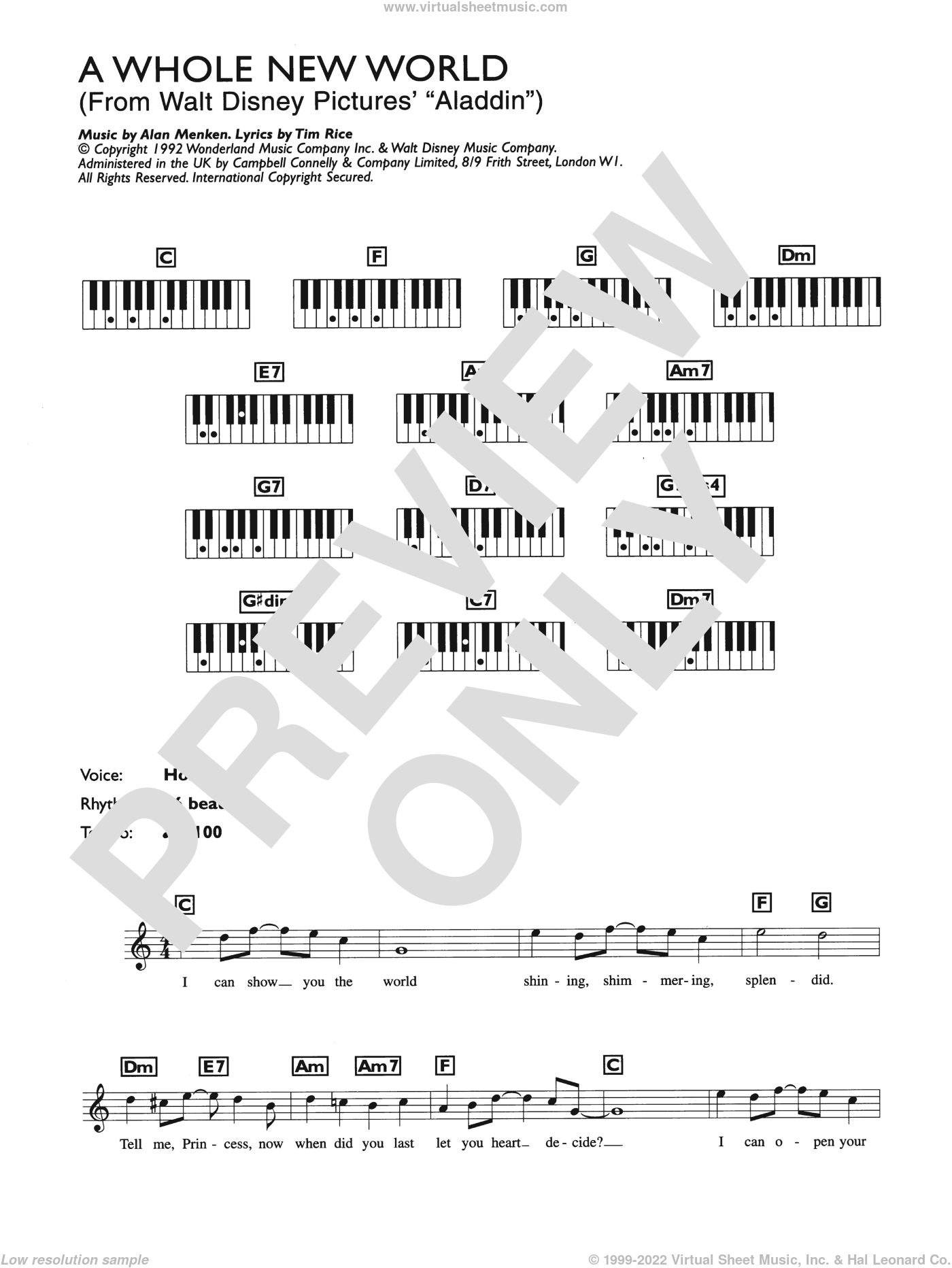 A Whole New World (from Aladdin) sheet music for piano solo (chords, lyrics, melody) by Tim Rice and Alan Menken. Score Image Preview.