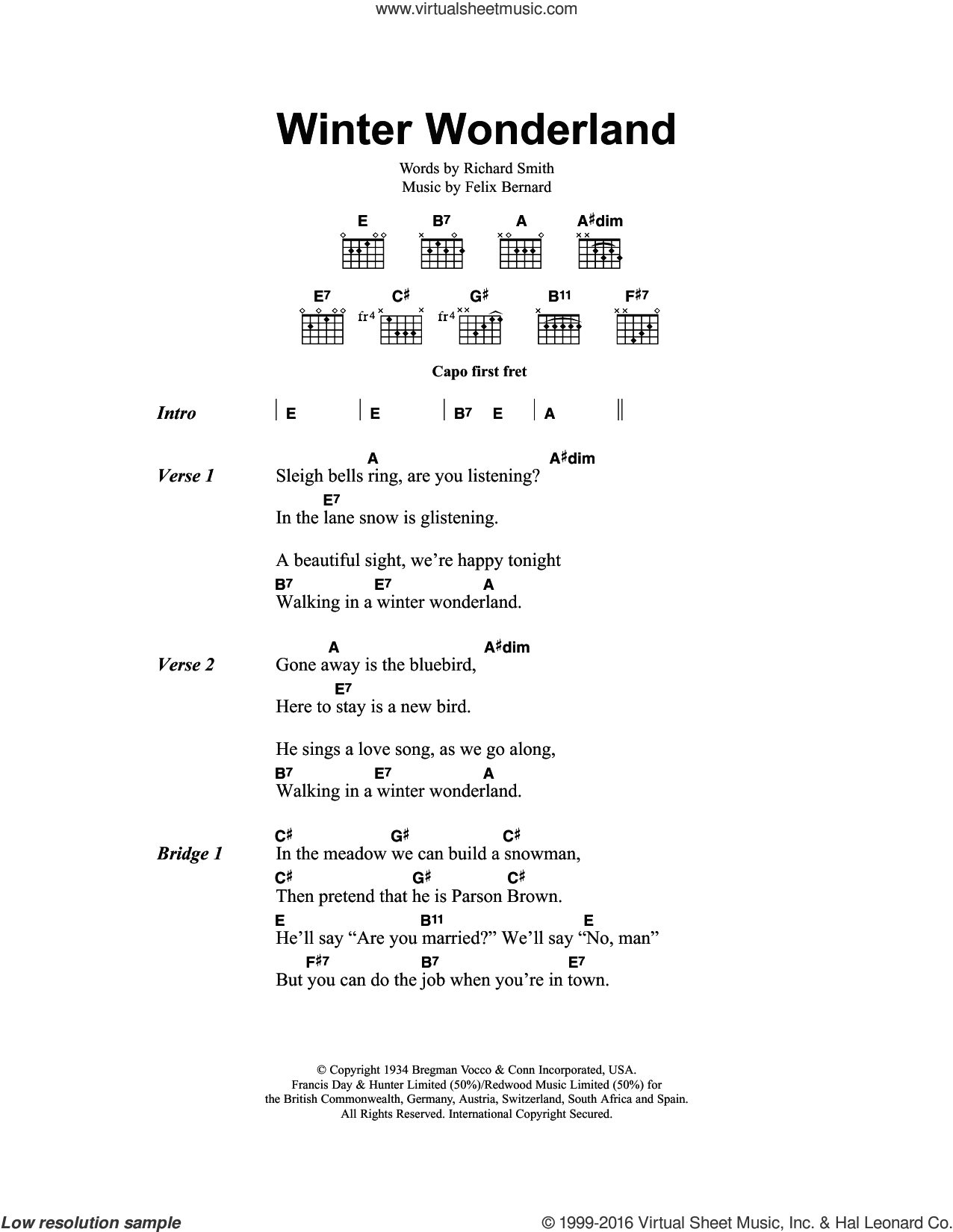 Winter Wonderland sheet music for guitar (chords) by Richard Smith, Johnny Mathis and Felix Bernard. Score Image Preview.