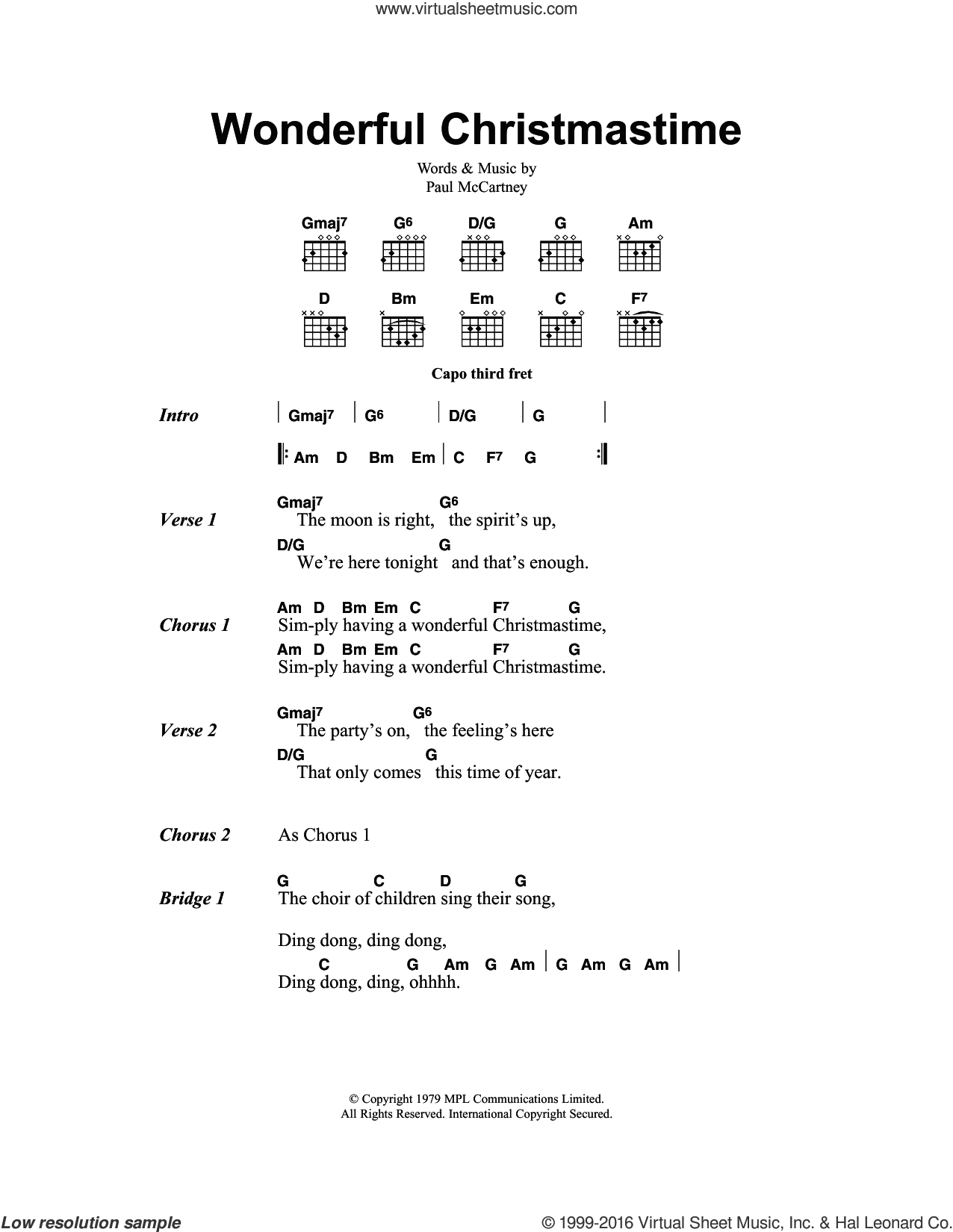 Wonderful Christmastime sheet music for guitar (chords) by Paul McCartney. Score Image Preview.