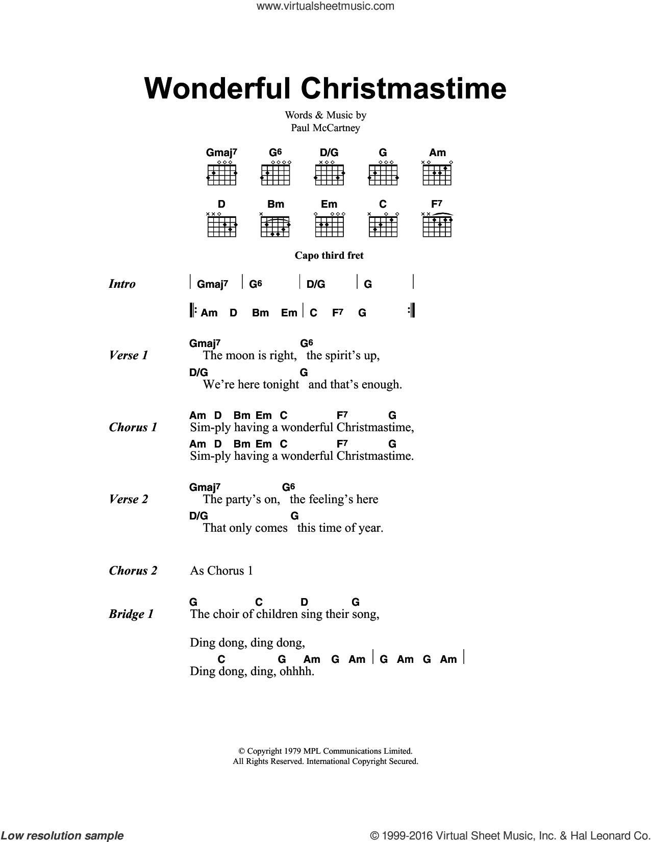 Wonderful Christmastime sheet music for guitar (chords) by Paul McCartney, intermediate skill level