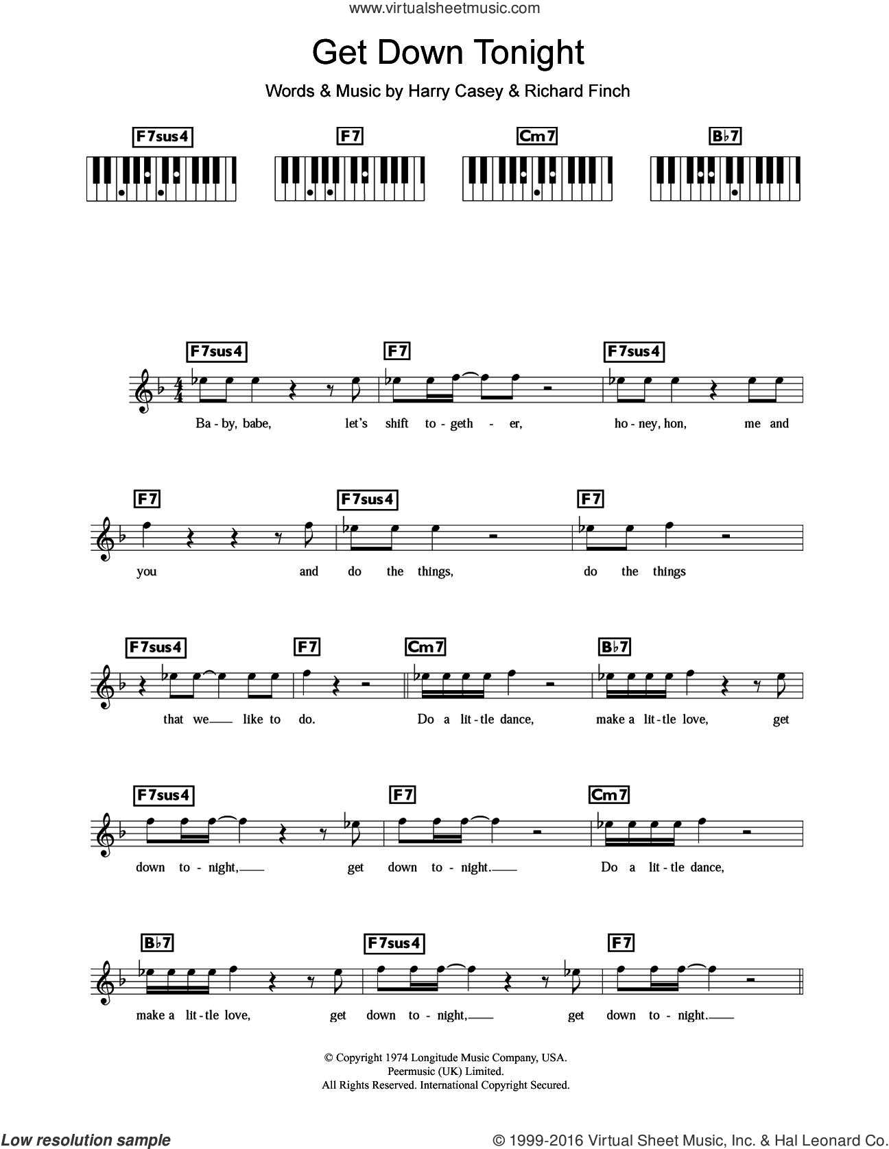 Get Down Tonight sheet music for piano solo (chords, lyrics, melody) by KC and The Sunshine Band, Harry Wayne Casey and Richard Finch. Score Image Preview.