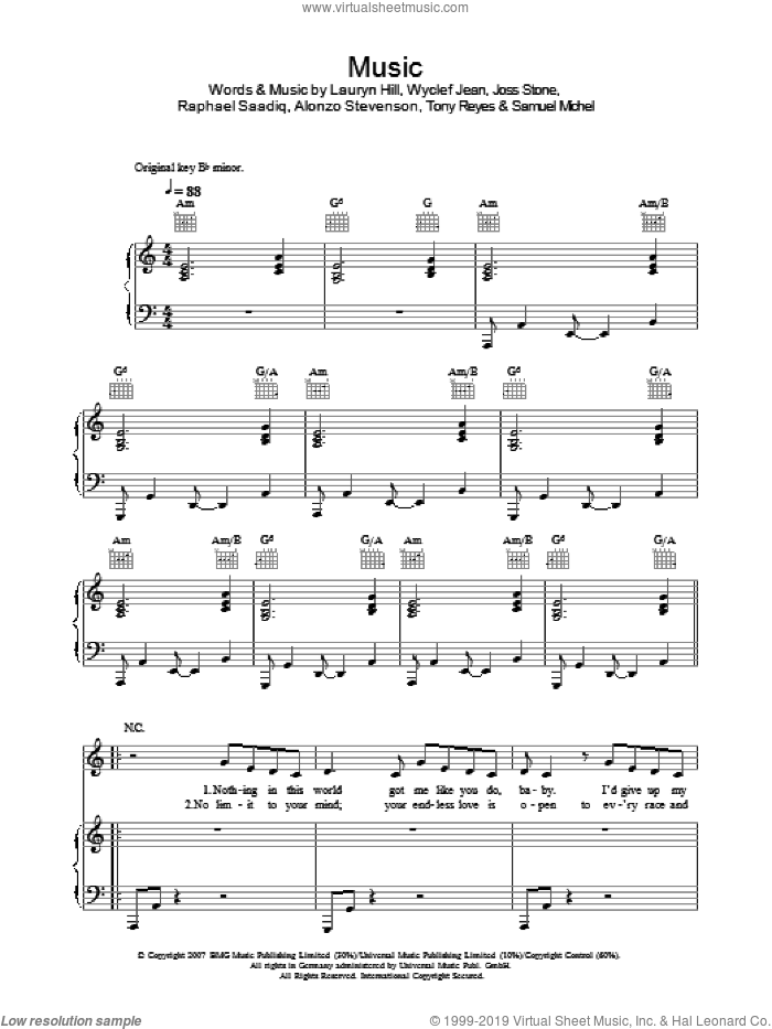 Music sheet music for voice, piano or guitar by Alonzo Stevenson, Joss Stone, Lauryn Hill, Raphael Saadiq, Tony Reyes and Wyclef Jean. Score Image Preview.