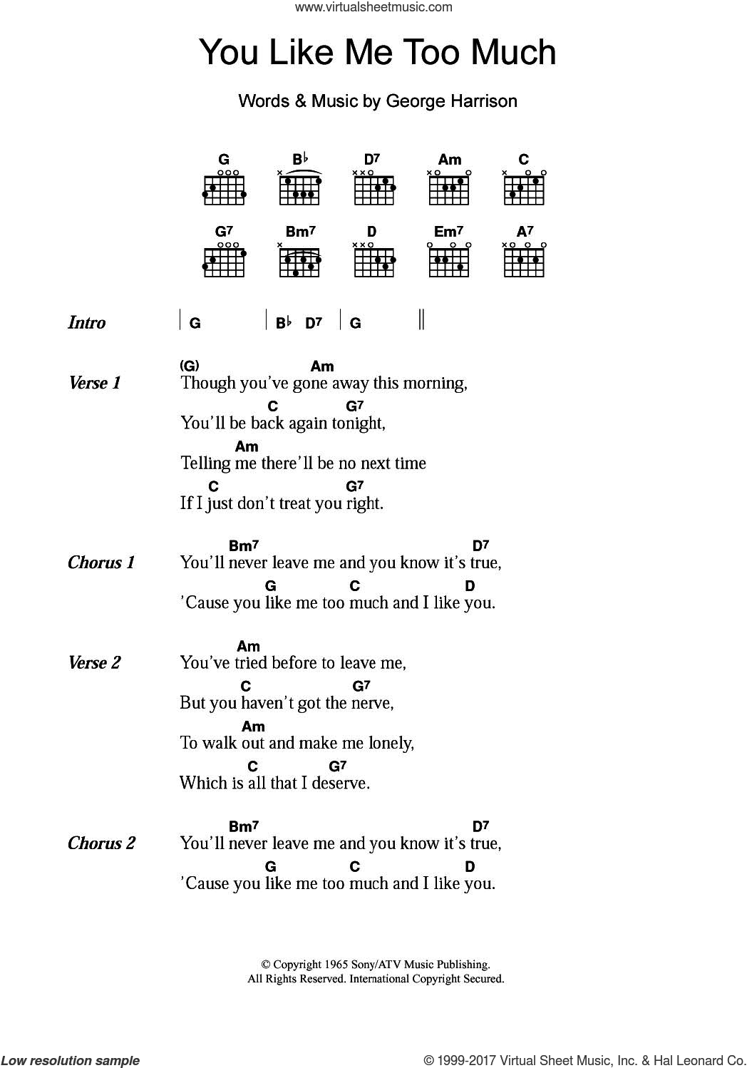 Beatles You Like Me Too Much Sheet Music For Guitar Chords