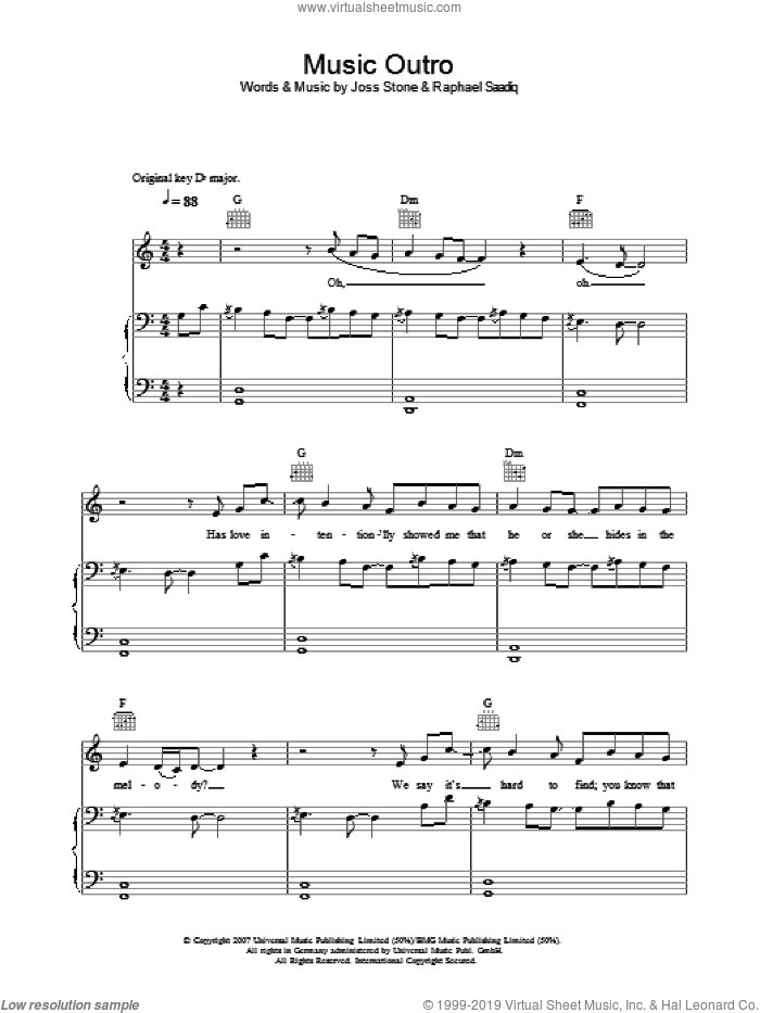 Music (Outro) sheet music for voice, piano or guitar by Joss Stone and Raphael Saadiq, intermediate. Score Image Preview.