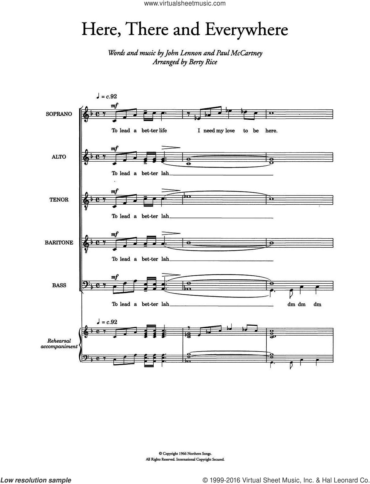 Here, There And Everywhere (arr. Berty Rice) sheet music for voice, piano or guitar by Paul McCartney, The Beatles and John Lennon. Score Image Preview.
