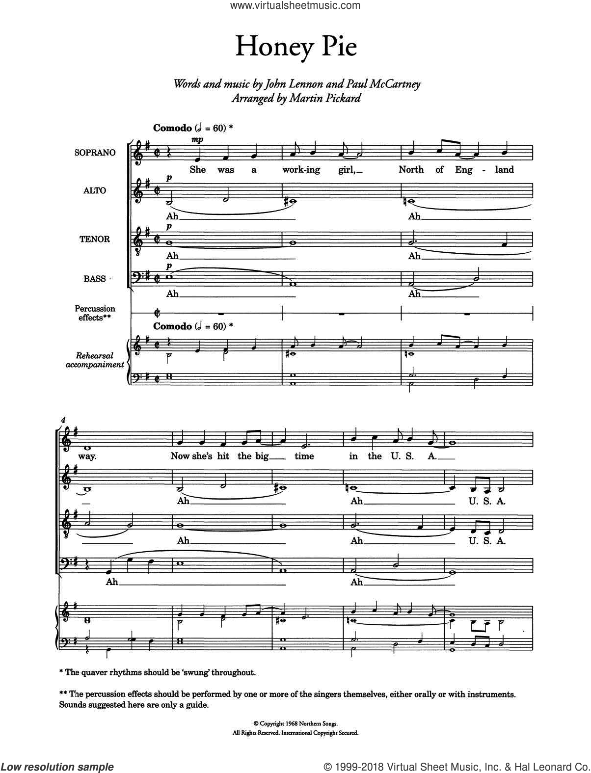 Honey Pie (arr. Martin Pickard) sheet music for choir and piano by Paul McCartney, The Beatles and John Lennon. Score Image Preview.