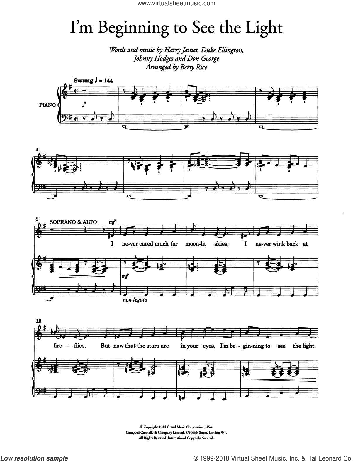 I'm Beginning To See The Light (arr. Berty Rice) sheet music for choir by Johnny Hodges, Ella Fitzgerald, Don George, Duke Ellington and Harry James. Score Image Preview.
