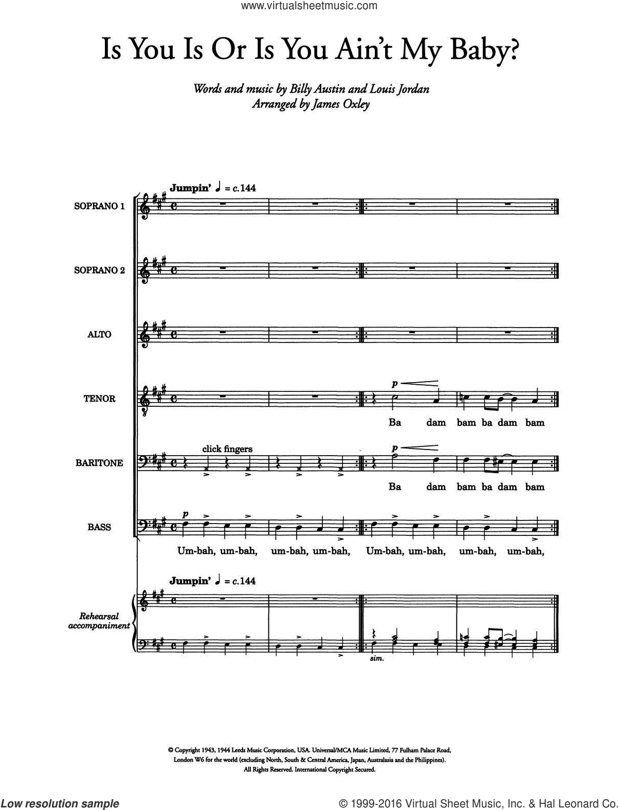 Is You Is, Or Is You Ain't (Ma' Baby) (arr. James Oxley) sheet music for voice, piano or guitar by Louis Jordan, James Oxley and Billy Austin, intermediate skill level