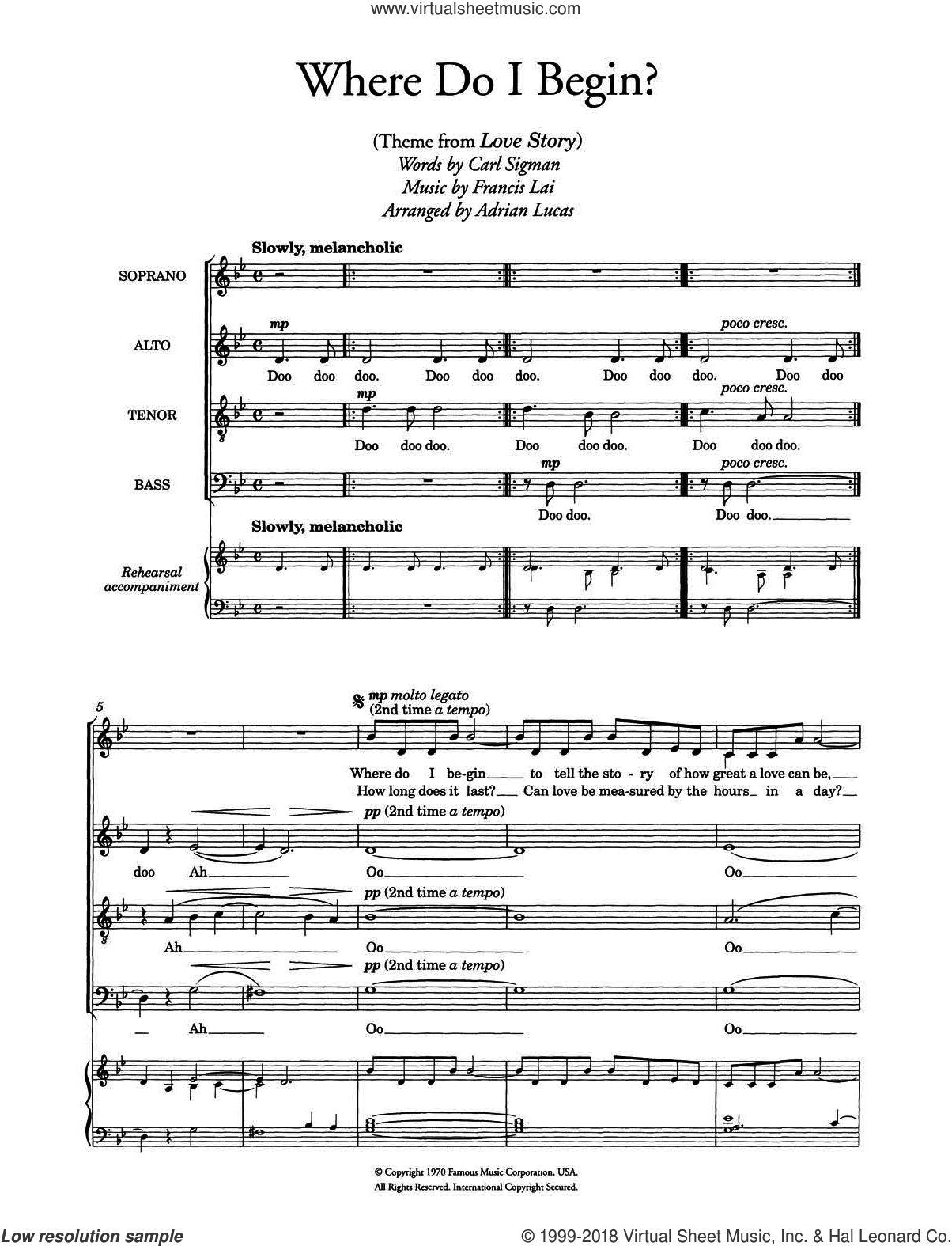 Where Do I Begin (theme from Love Story) (arr. Adrian Lucas) sheet music for choir and piano by Carl Sigman and Francis Lai. Score Image Preview.