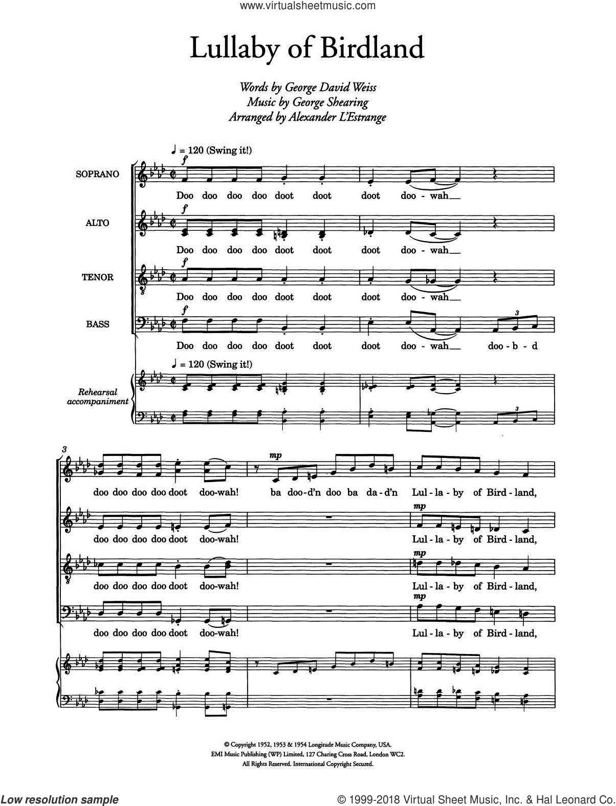Lullaby Of Birdland (arr. Alexander L'Estrange) sheet music for choir by Ella Fitzgerald, George David Weiss and George Shearing, intermediate skill level